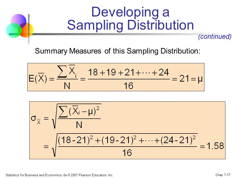 Statistics for Business and Economics, 6e © 2007 Pearson Education, Inc. Chap 7-17 Summary Measures of this Sampling Distribution: Developing a Sampli