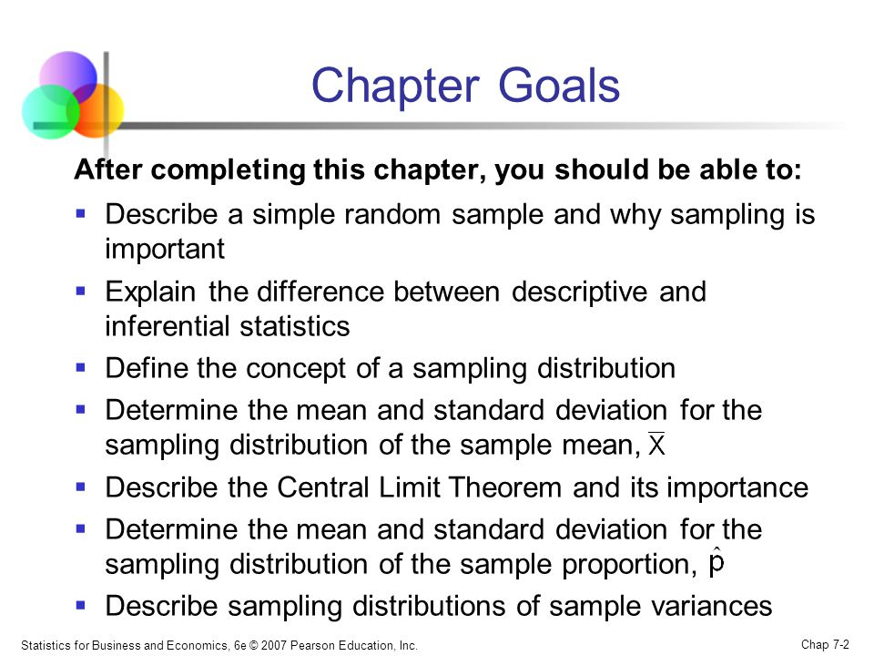 Statistics for Business and Economics, 6e © 2007 Pearson Education, Inc. Chap 7-2 Chapter Goals After completing this chapter, you should be able to: