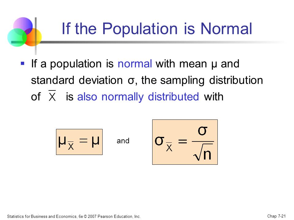 Statistics for Business and Economics, 6e © 2007 Pearson Education, Inc. Chap 7-21 If the Population is Normal If a population is normal with mean μ a