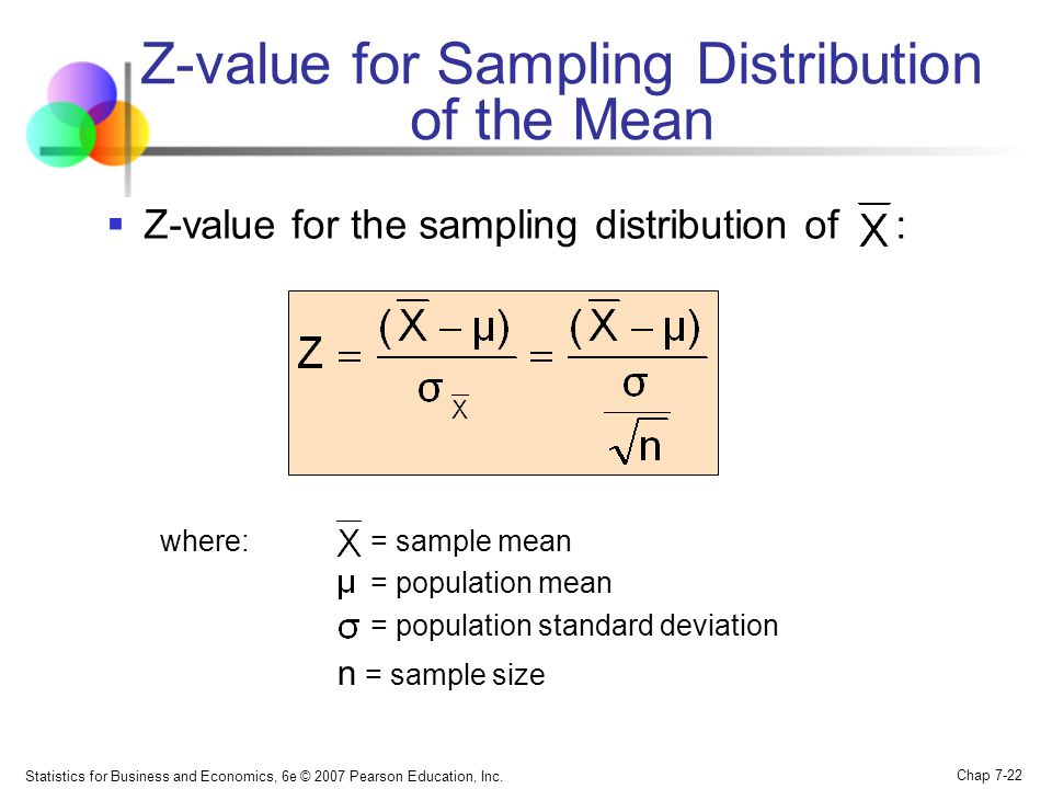 Statistics for Business and Economics, 6e © 2007 Pearson Education, Inc. Chap 7-22 Z-value for Sampling Distribution of the Mean Z-value for the sampl