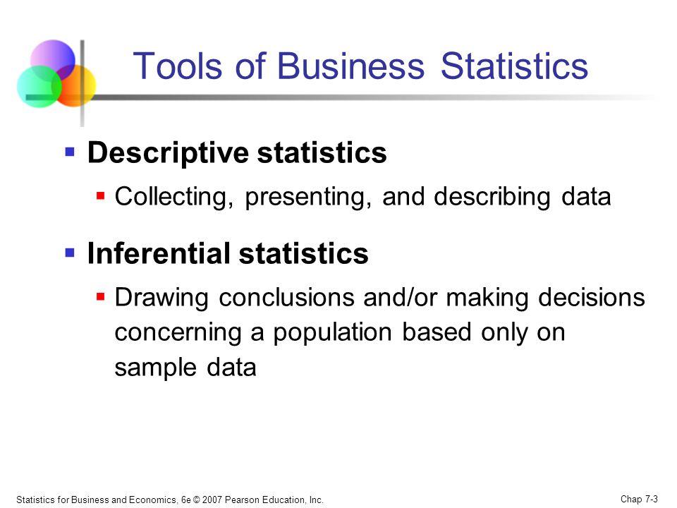 Statistics for Business and Economics, 6e © 2007 Pearson Education, Inc. Chap 7-3 Descriptive statistics Collecting, presenting, and describing data I