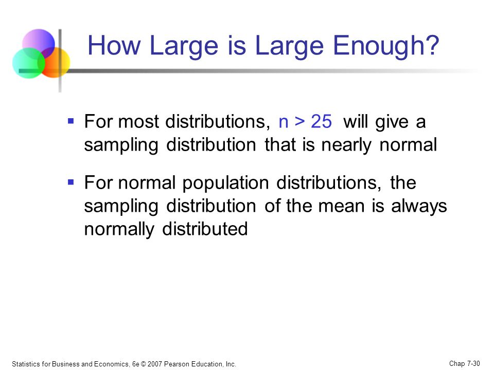 Statistics for Business and Economics, 6e © 2007 Pearson Education, Inc. Chap 7-30 How Large is Large Enough? For most distributions, n > 25 will give