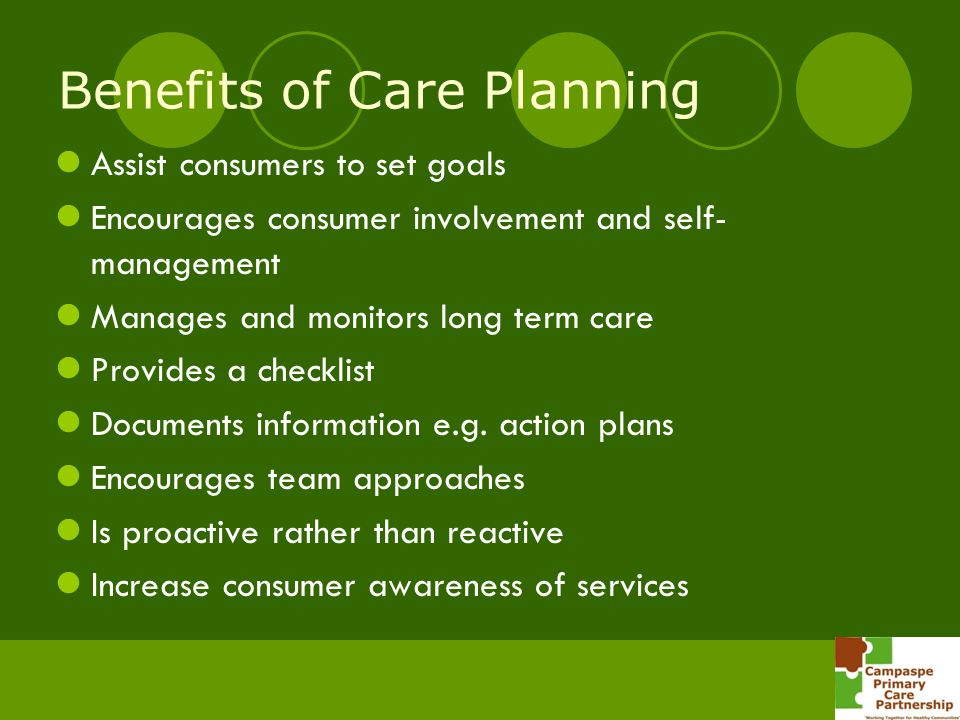 Benefits of Care Planning Assist consumers to set goals Encourages consumer involvement and self- management Manages and monitors long term care Provi