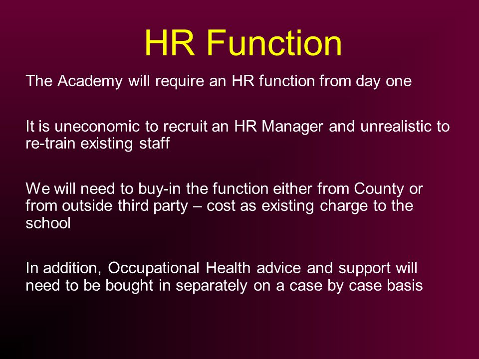 HR Function The Academy will require an HR function from day one It is uneconomic to recruit an HR Manager and unrealistic to re-train existing staff We will need to buy-in the function either from County or from outside third party – cost as existing charge to the school In addition, Occupational Health advice and support will need to be bought in separately on a case by case basis