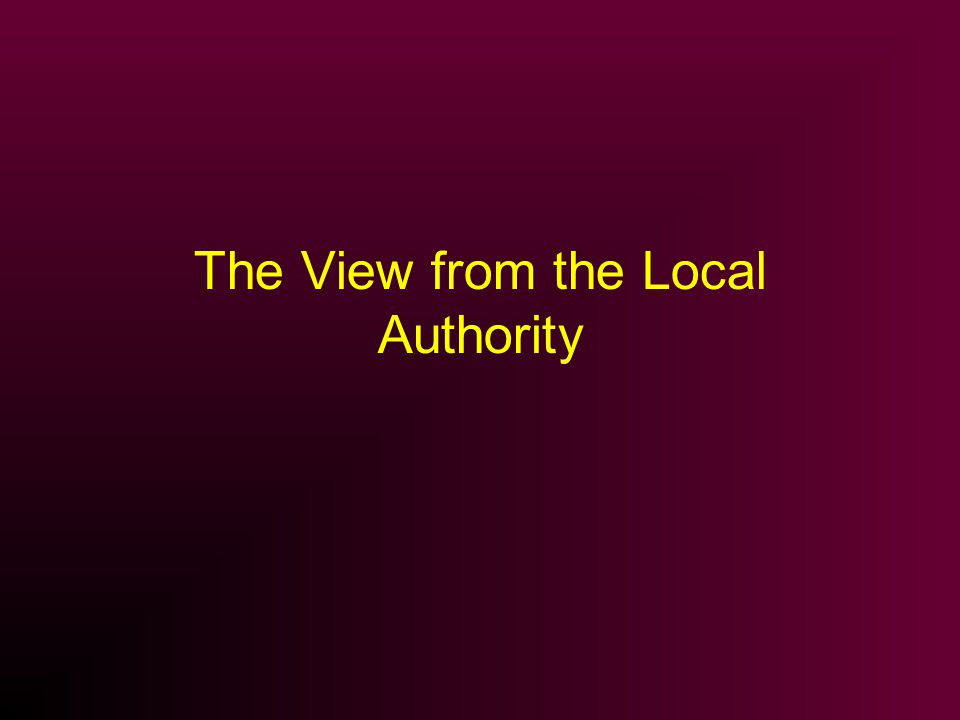 The View from the Local Authority