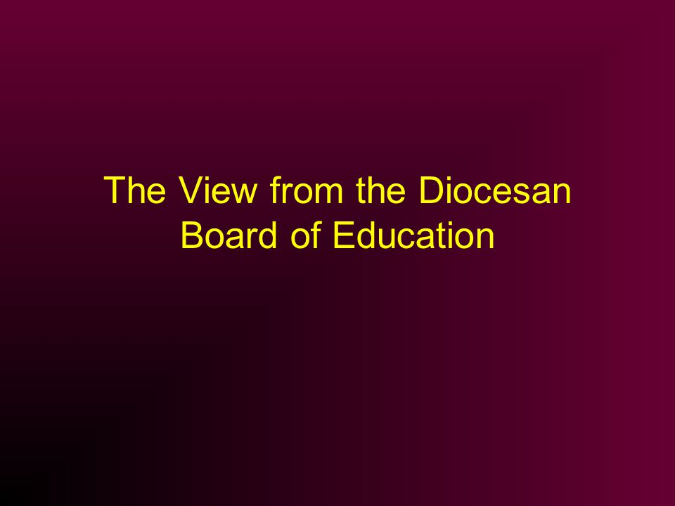 The View from the Diocesan Board of Education