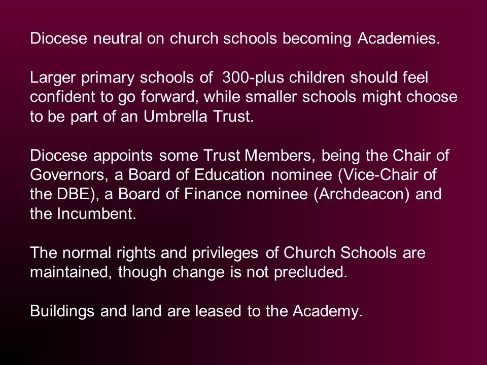 Diocese neutral on church schools becoming Academies.