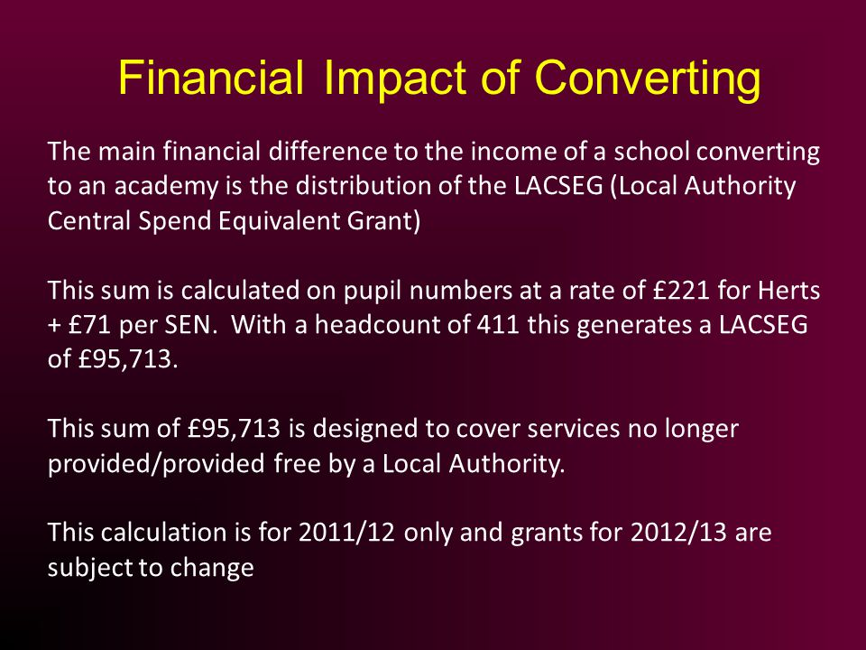 The main financial difference to the income of a school converting to an academy is the distribution of the LACSEG (Local Authority Central Spend Equi