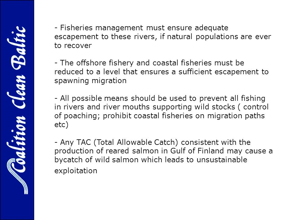 - Fisheries management must ensure adequate escapement to these rivers, if natural populations are ever to recover - The offshore fishery and coastal