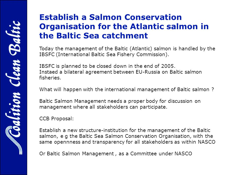 Establish a Salmon Conservation Organisation for the Atlantic salmon in the Baltic Sea catchment Today the management of the Baltic (Atlantic) salmon