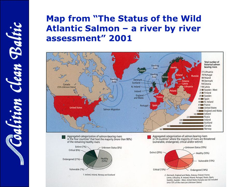 Map from The Status of the Wild Atlantic Salmon – a river by river assessment 2001
