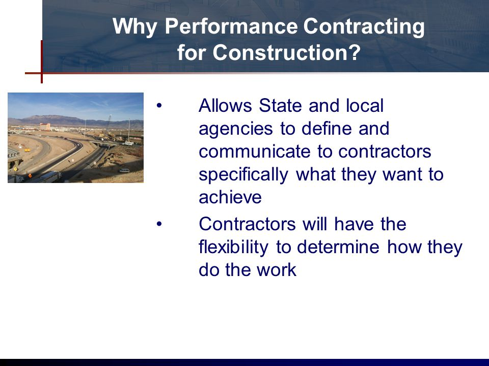 Why Performance Contracting for Construction.