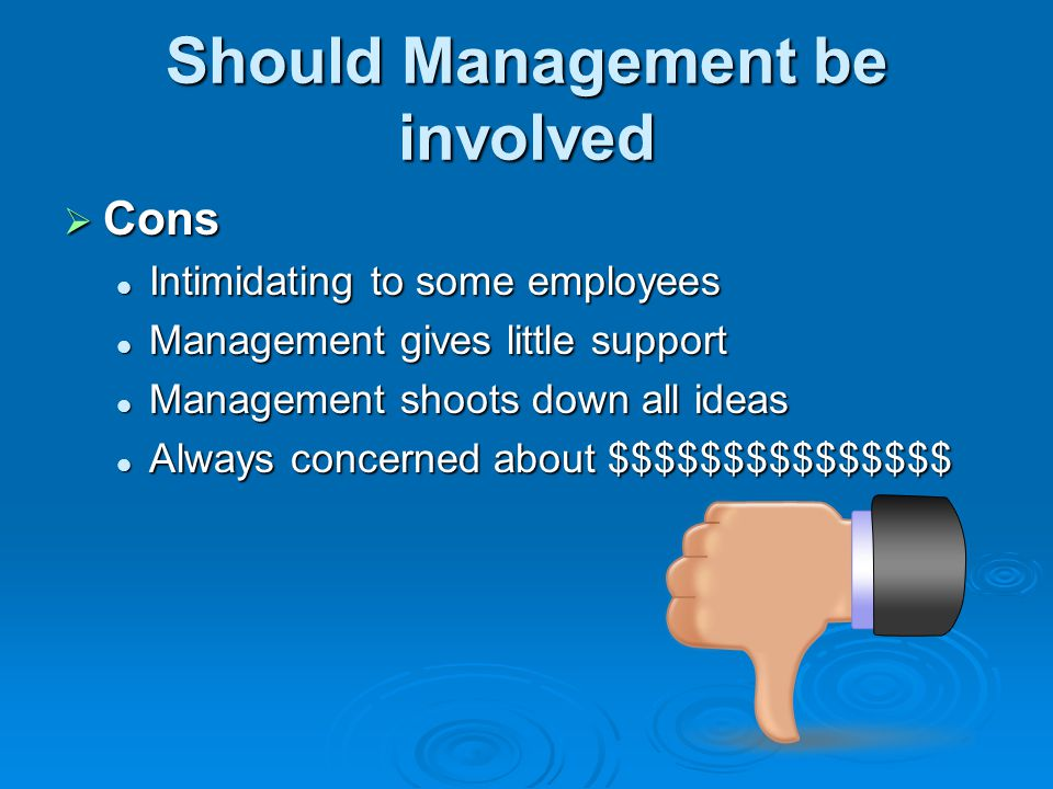 Should Management be involved Cons Cons Intimidating to some employees Intimidating to some employees Management gives little support Management gives
