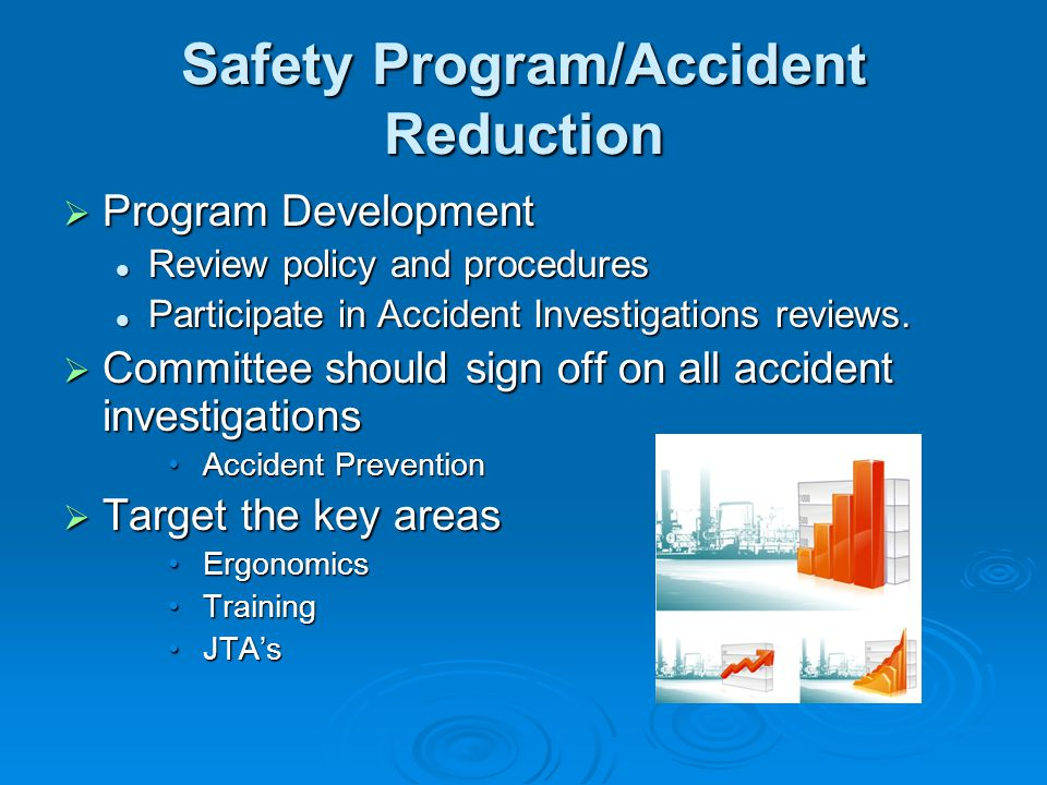 Safety Program/Accident Reduction Program Development Program Development Review policy and procedures Review policy and procedures Participate in Acc