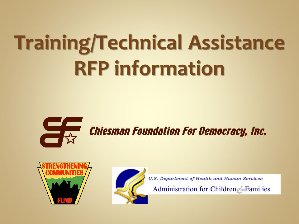 Training/Technical Assistance RFP information