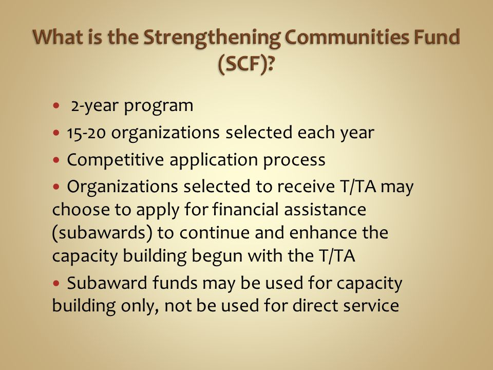 2-year program 15-20 organizations selected each year Competitive application process Organizations selected to receive T/TA may choose to apply for financial assistance (subawards) to continue and enhance the capacity building begun with the T/TA Subaward funds may be used for capacity building only, not be used for direct service