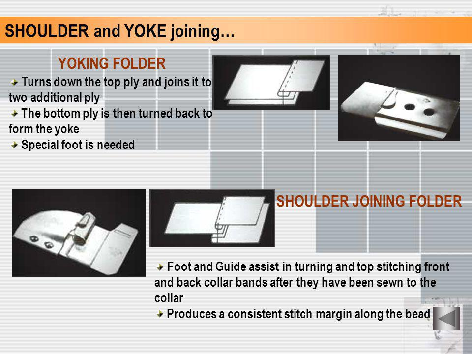 SHOULDER and YOKE joining… YOKING FOLDER Turns down the top ply and joins it to two additional ply The bottom ply is then turned back to form the yoke