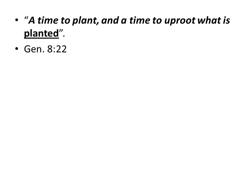 A time to plant, and a time to uproot what is planted. Gen. 8:22
