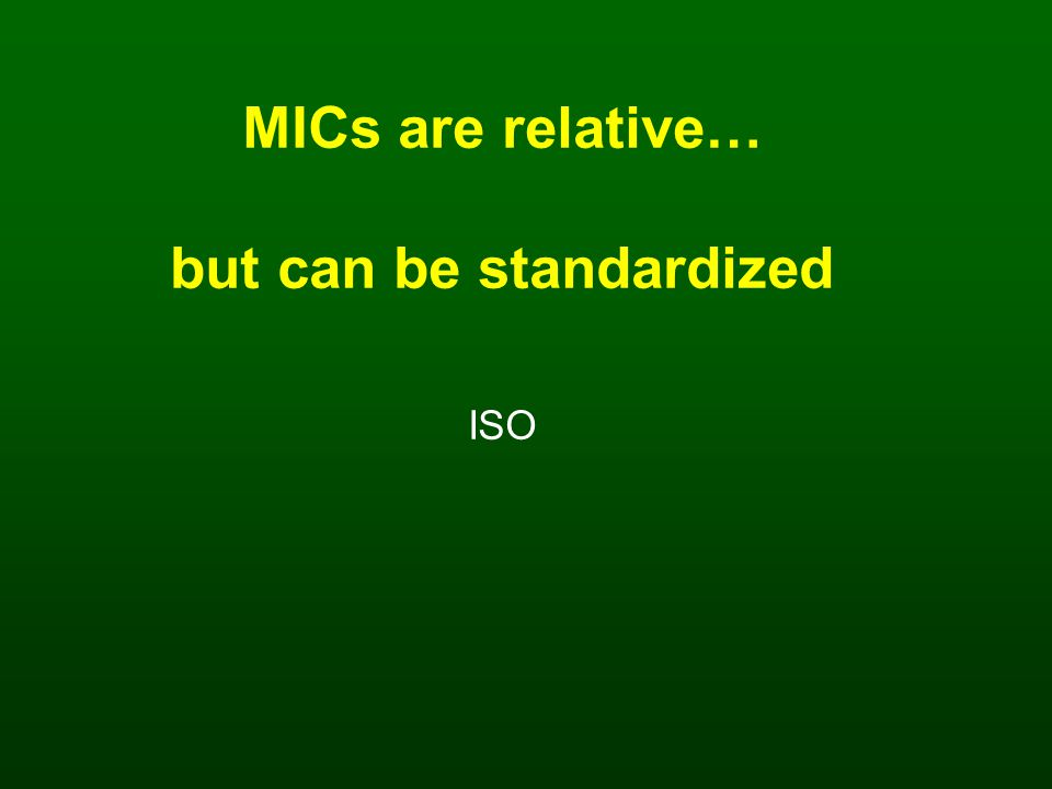 MICs are relative… but can be standardized ISO