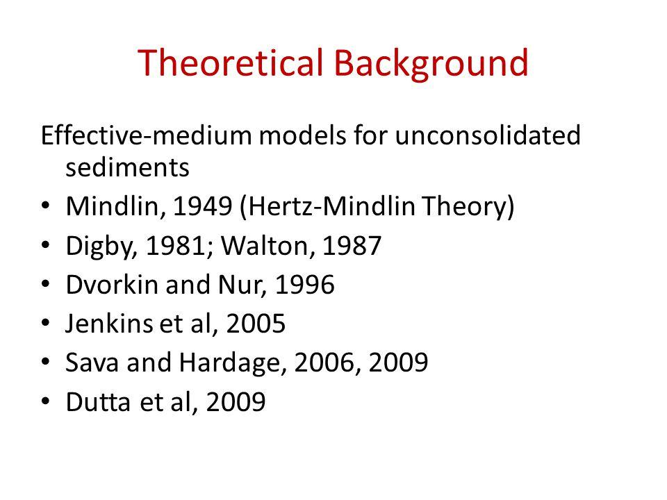Theoretical Background Effective-medium models for unconsolidated sediments Mindlin, 1949 (Hertz-Mindlin Theory) Digby, 1981; Walton, 1987 Dvorkin and