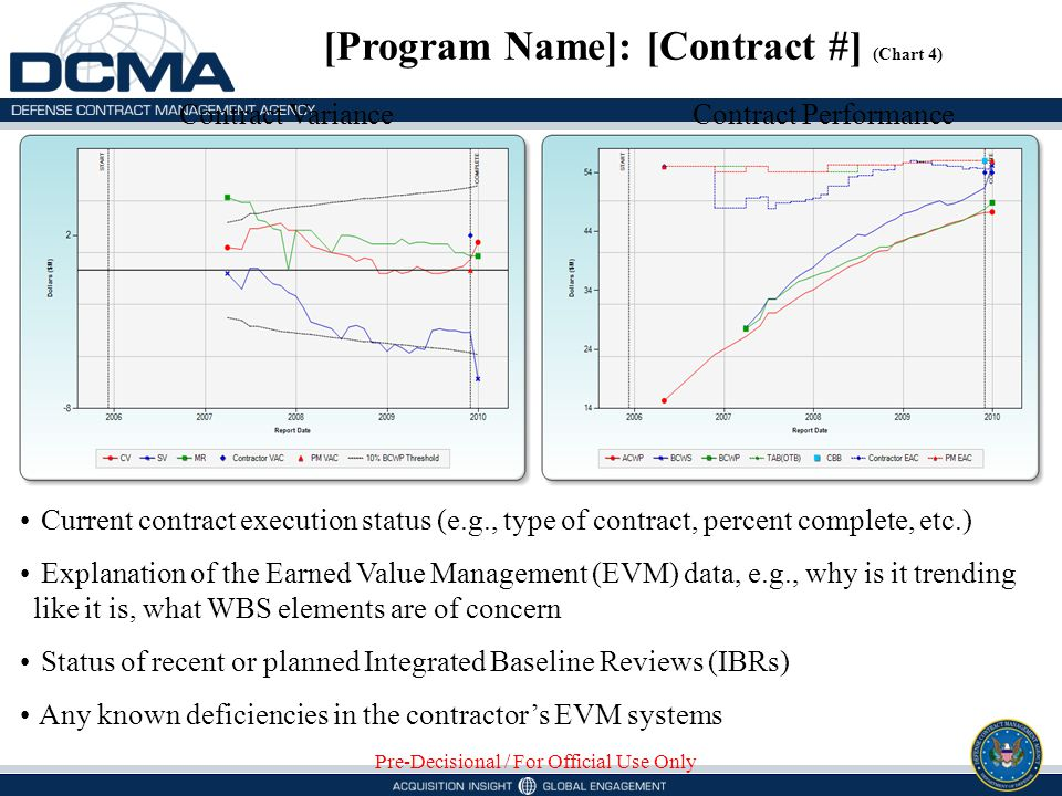 Contract VarianceContract Performance [Program Name]: [Contract #] (Chart 4) Pre-Decisional / For Official Use Only Current contract execution status (e.g., type of contract, percent complete, etc.) Explanation of the Earned Value Management (EVM) data, e.g., why is it trending like it is, what WBS elements are of concern Status of recent or planned Integrated Baseline Reviews (IBRs) Any known deficiencies in the contractors EVM systems