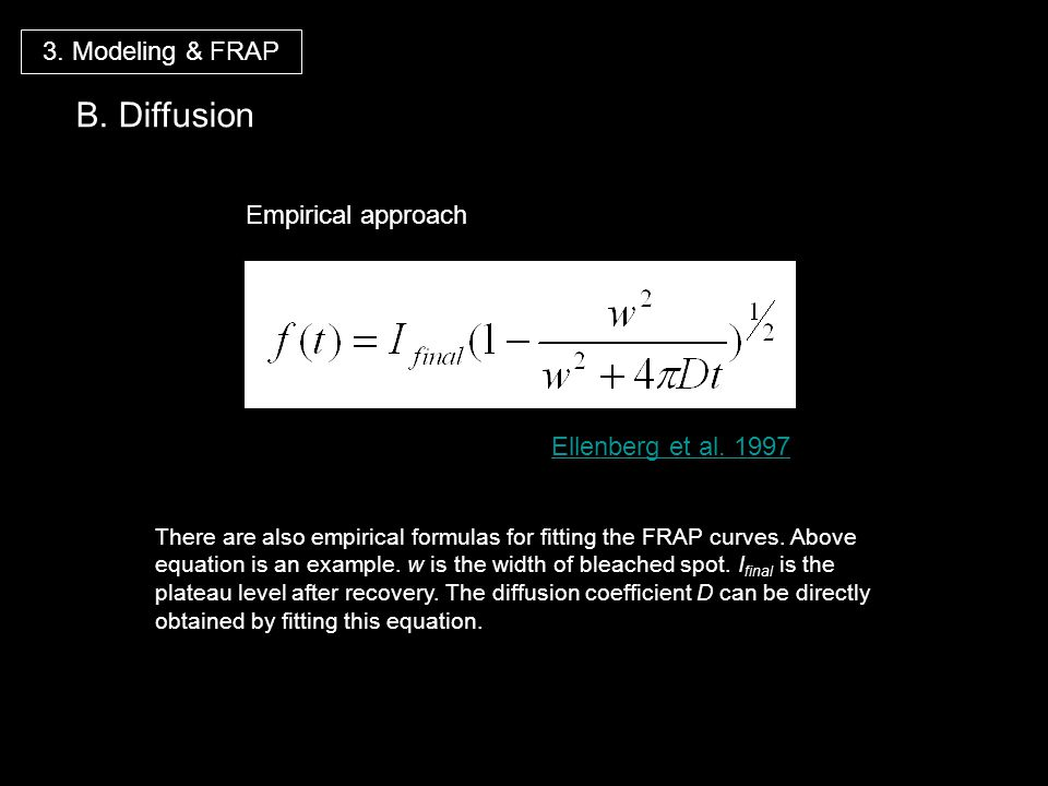 Ellenberg et al. 1997 Empirical approach 3. Modeling & FRAP B. Diffusion There are also empirical formulas for fitting the FRAP curves. Above equation