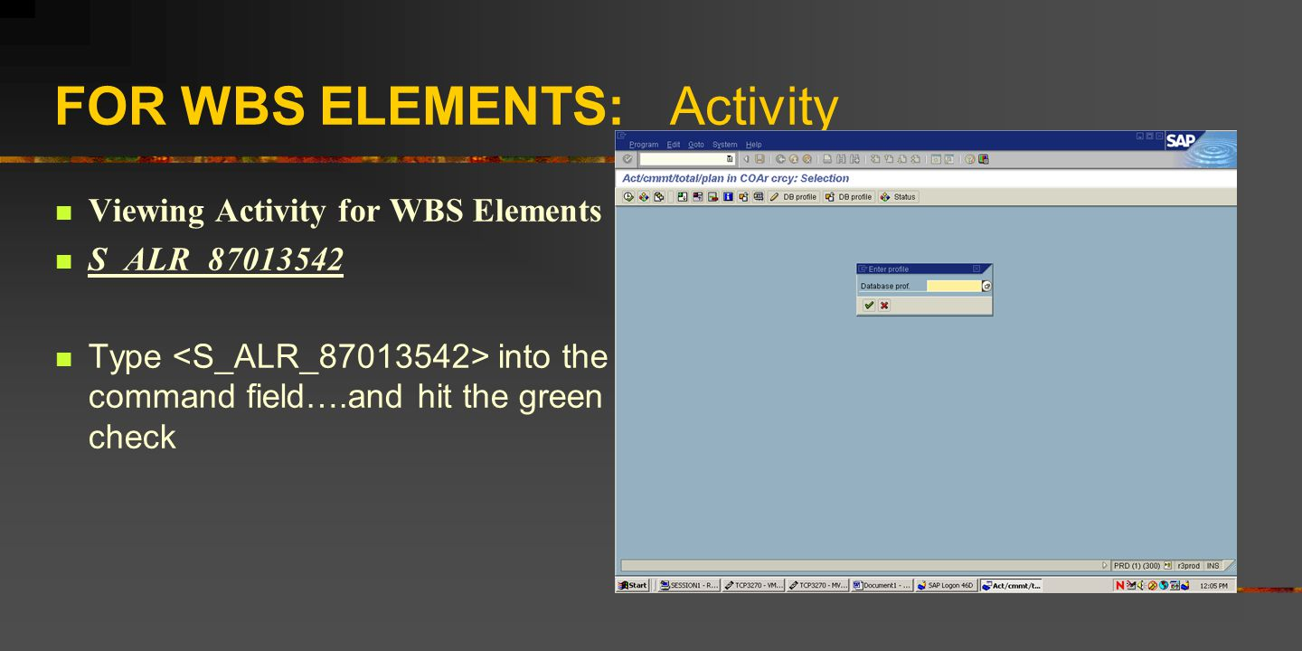 FOR WBS ELEMENTS: Activity Viewing Activity for WBS Elements S_ALR_87013542 Type into the command field….and hit the green check