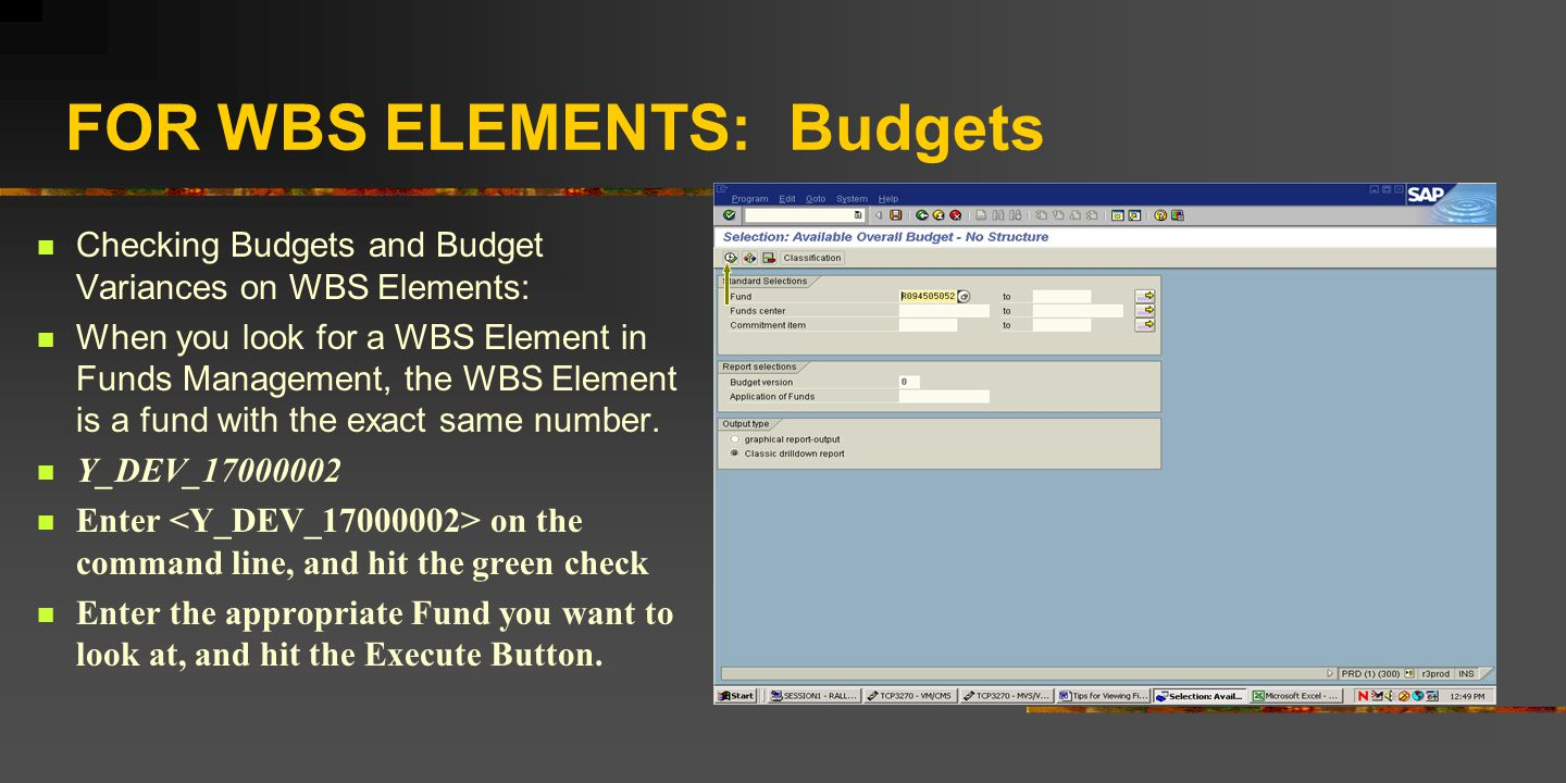 FOR WBS ELEMENTS: Budgets Checking Budgets and Budget Variances on WBS Elements: When you look for a WBS Element in Funds Management, the WBS Element