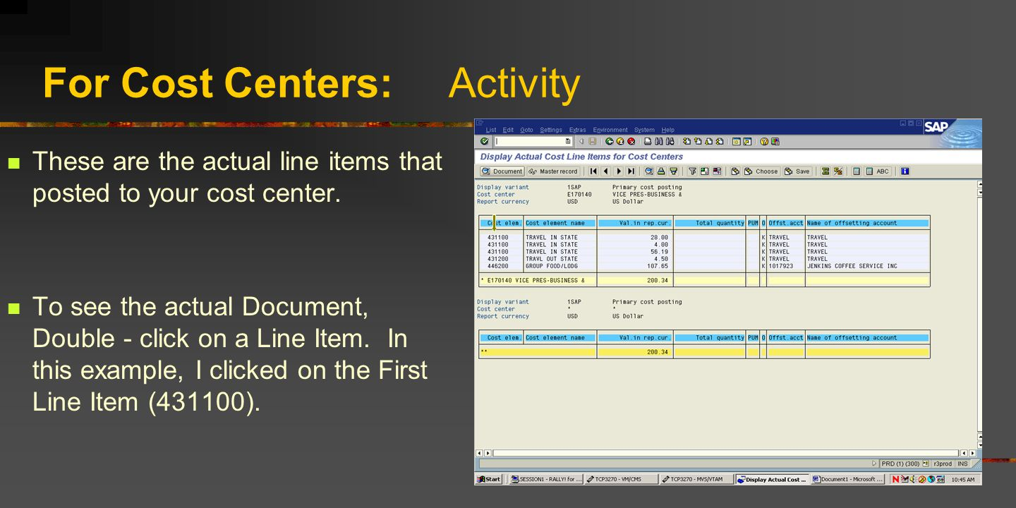 For Cost Centers: Activity These are the actual line items that posted to your cost center. To see the actual Document, Double - click on a Line Item.