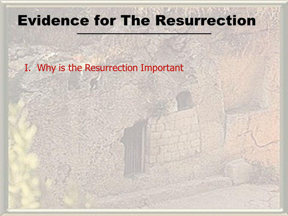 Evidence for The Resurrection I. Why is the Resurrection Important