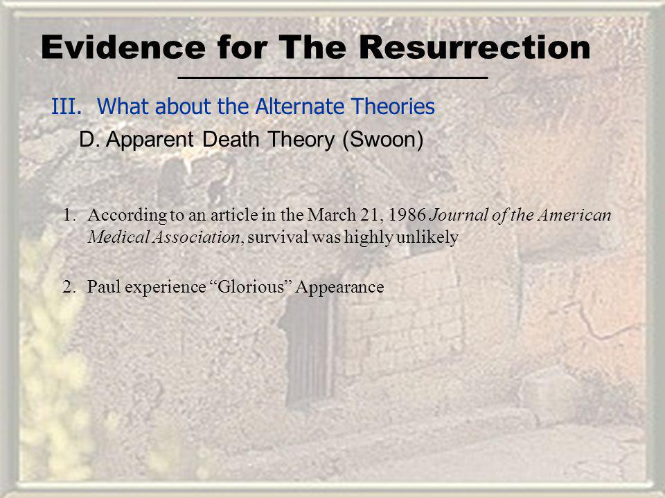 Evidence for The Resurrection III. What about the Alternate Theories D. Apparent Death Theory (Swoon) 1.According to an article in the March 21, 1986