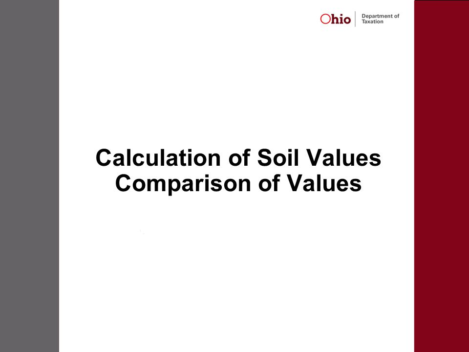 Calculation of Soil Values Comparison of Values