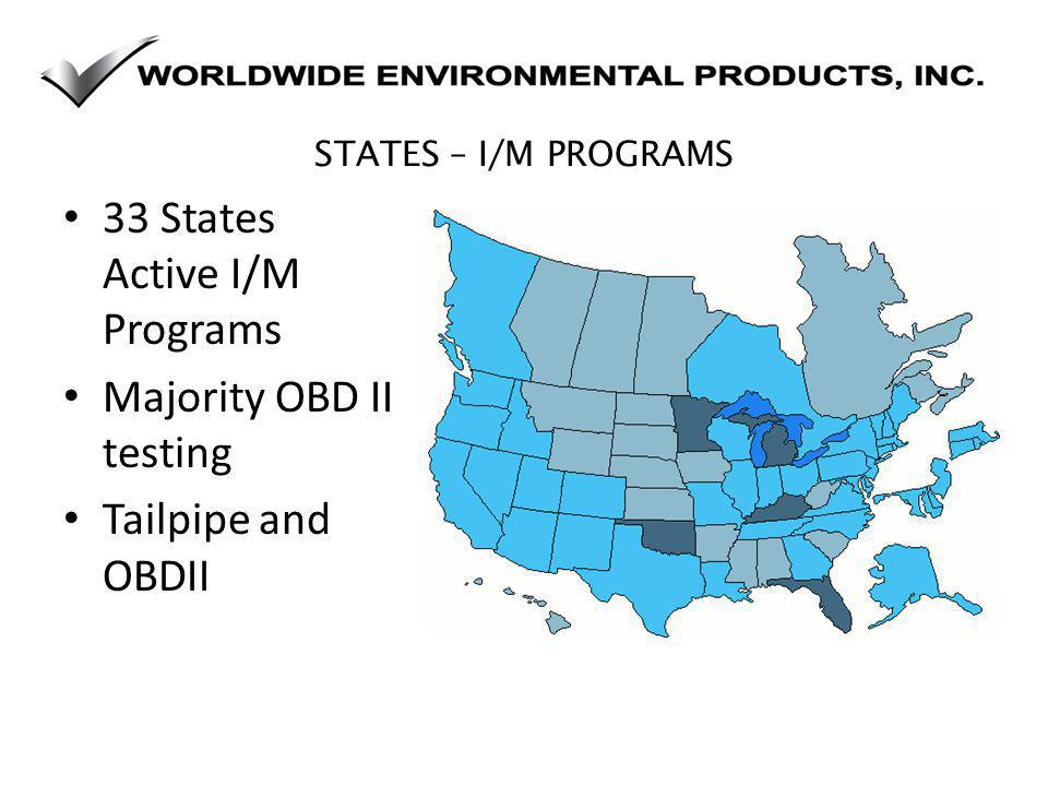 STATES – I/M PROGRAMS 33 States Active I/M Programs Majority OBD II testing Tailpipe and OBDII