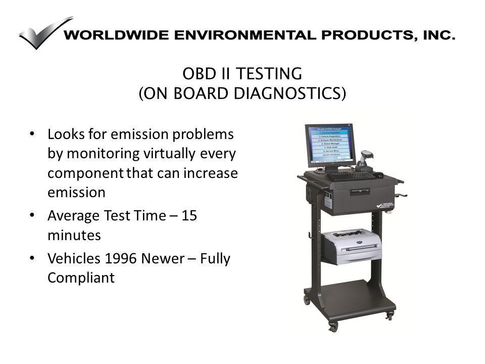OBD II TESTING (ON BOARD DIAGNOSTICS) Looks for emission problems by monitoring virtually every component that can increase emission Average Test Time