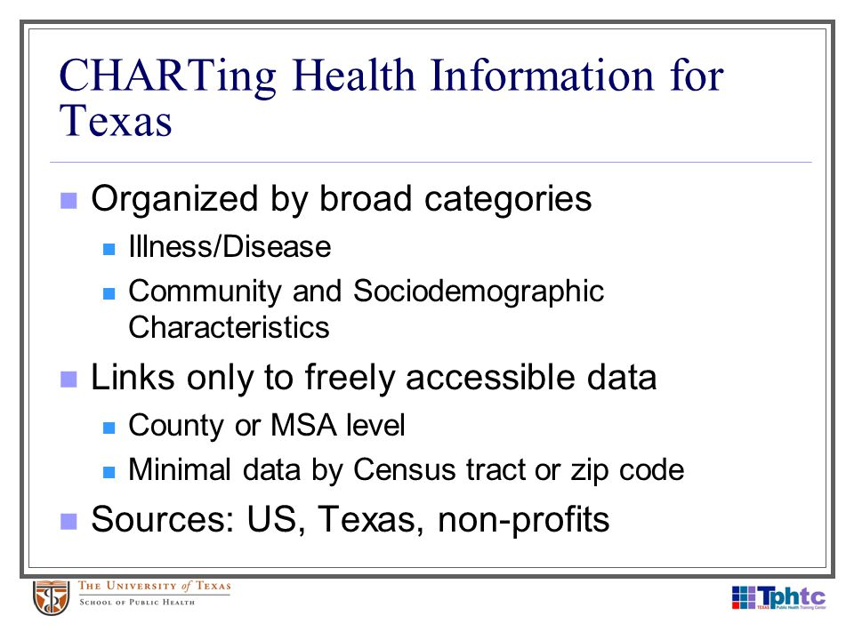 CHARTing Health Information for Texas Organized by broad categories Illness/Disease Community and Sociodemographic Characteristics Links only to freel
