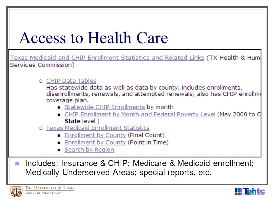 Access to Health Care Includes: Insurance & CHIP; Medicare & Medicaid enrollment; Medically Underserved Areas; special reports, etc.