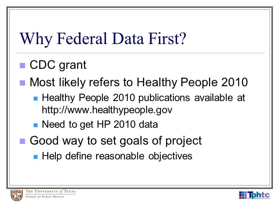 Why Federal Data First? CDC grant Most likely refers to Healthy People 2010 Healthy People 2010 publications available at http://www.healthypeople.gov