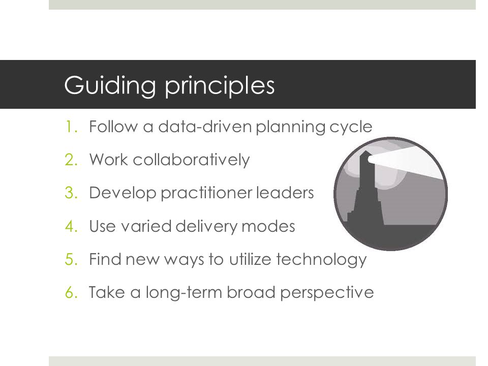 Guiding principles 1.Follow a data-driven planning cycle 2.Work collaboratively 3.Develop practitioner leaders 4.Use varied delivery modes 5.Find new ways to utilize technology 6.Take a long-term broad perspective