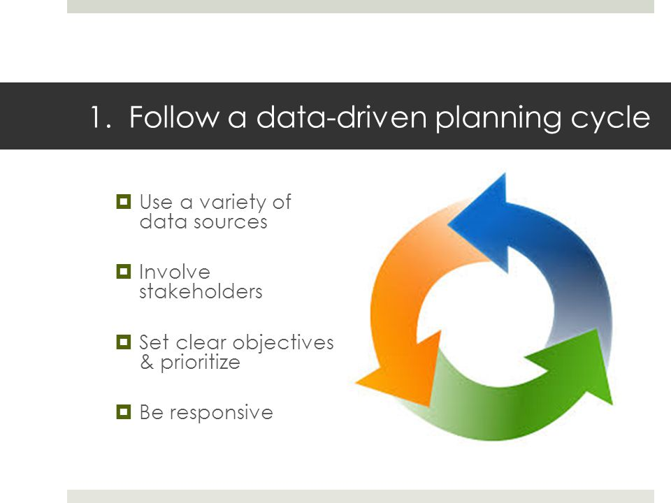 1. Follow a data-driven planning cycle Use a variety of data sources Involve stakeholders Set clear objectives & prioritize Be responsive