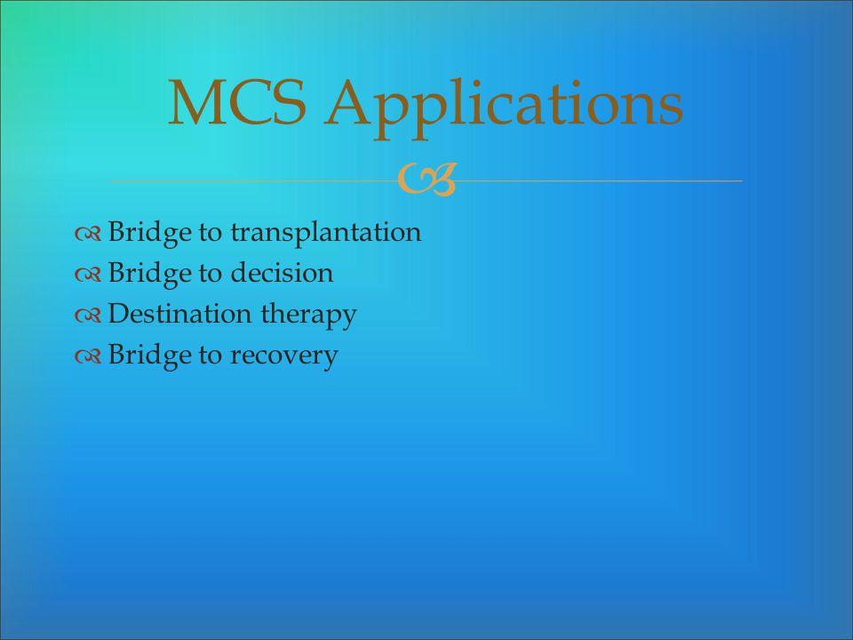 Bridge to transplantation Bridge to decision Destination therapy Bridge to recovery MCS Applications