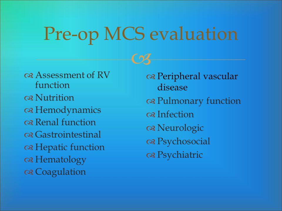 Pre-op MCS evaluation Assessment of RV function Nutrition Hemodynamics Renal function Gastrointestinal Hepatic function Hematology Coagulation Periphe