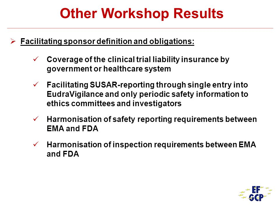 Other Workshop Results Facilitating sponsor definition and obligations: Coverage of the clinical trial liability insurance by government or healthcare