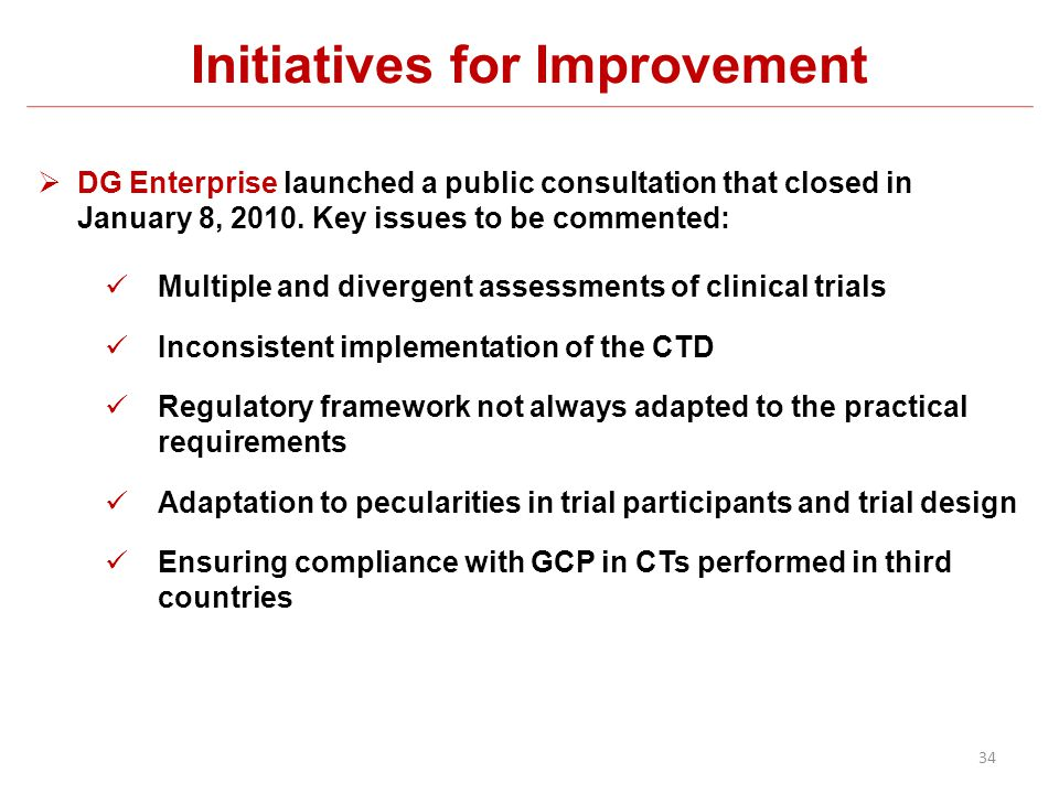 Initiatives for Improvement DG Enterprise launched a public consultation that closed in January 8, 2010. Key issues to be commented: Multiple and dive