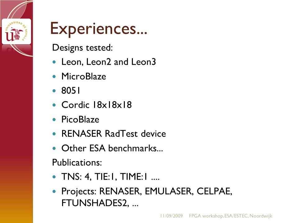 Experiences... Designs tested: Leon, Leon2 and Leon3 MicroBlaze 8051 Cordic 18x18x18 PicoBlaze RENASER RadTest device Other ESA benchmarks... Publicat