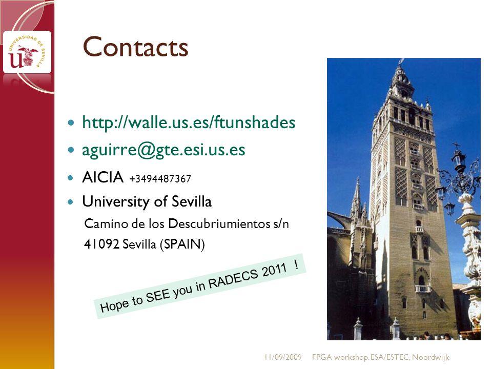 Contacts http://walle.us.es/ftunshades aguirre@gte.esi.us.es AICIA +3494487367 University of Sevilla Camino de los Descubriumientos s/n 41092 Sevilla (SPAIN) 11/09/2009FPGA workshop.