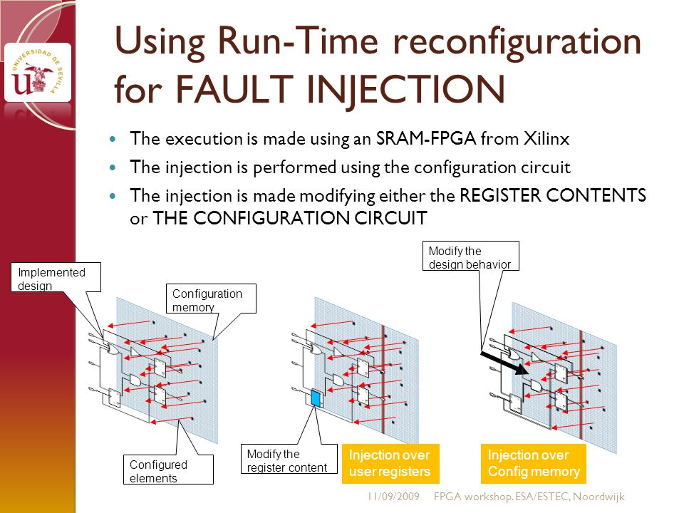 Using Run-Time reconfiguration for FAULT INJECTION The execution is made using an SRAM-FPGA from Xilinx The injection is performed using the configuration circuit The injection is made modifying either the REGISTER CONTENTS or THE CONFIGURATION CIRCUIT 11/09/2009FPGA workshop.