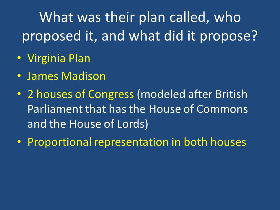 What was their plan called, who proposed it, and what did it propose? Virginia Plan James Madison 2 houses of Congress (modeled after British Parliame
