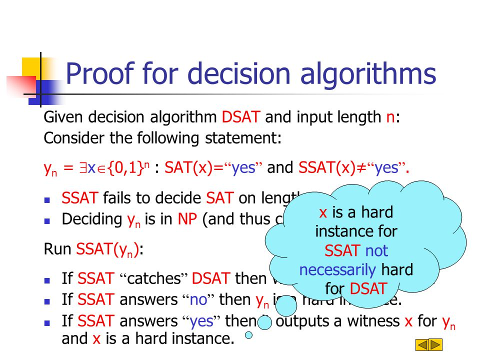 Proof for decision algorithms Given decision algorithm DSAT and input length n: Consider the following statement: y n = x {0,1} n : SAT(x)= yes and SSAT(x) yes.