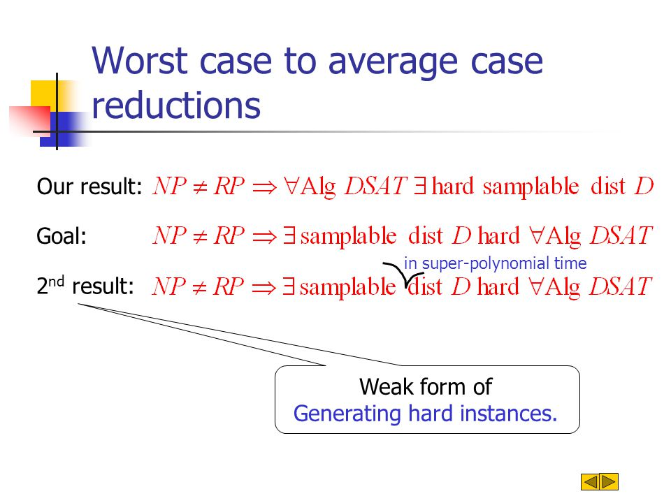 Worst case to average case reductions Our result: Goal: 2 nd result: in super-polynomial time Weak form of Generating hard instances.