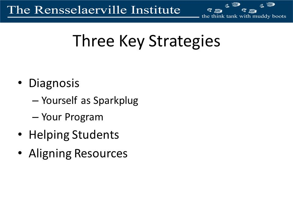 Three Key Strategies Diagnosis – Yourself as Sparkplug – Your Program Helping Students Aligning Resources